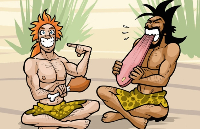 two-cavemen-are-eating-chicken-and-meat